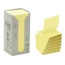 Bloczki samoprzylepne ekologiczne Post-it żółte, 654-1T 76x76 mm 16 szt.