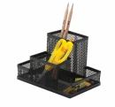 Przybornik ażurowy z 4 przegrodami Q-CONNECT Office Set metalowy czarny KF15112