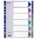 Przekładki plastikowe ESSELTE A4 MAXI 6 kart MULTICOLOR 20647