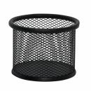 Przybornik ażurowy okrągły Q-CONNECT Office Set metalowy czarny KF16571
